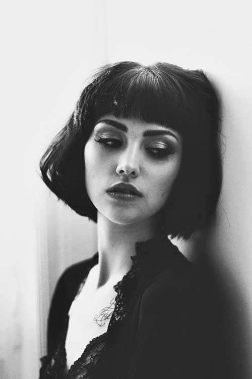 Fine Textured Blunt Bob with Bangs