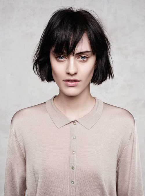 Textured French Bob Cuts with Bangs