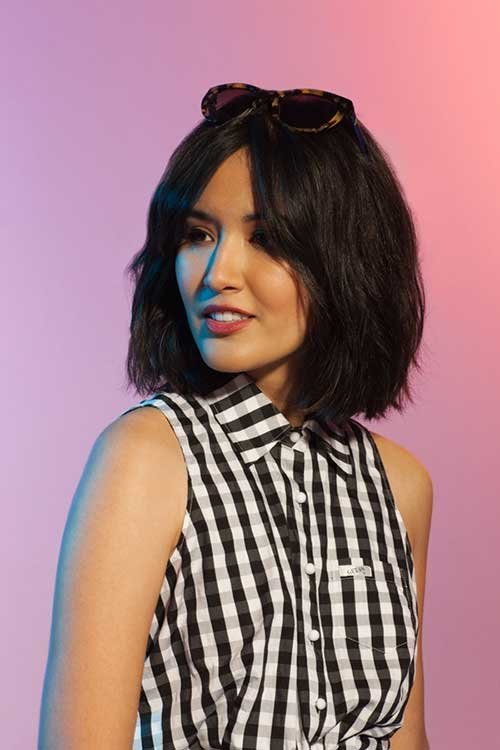 Textured Mid Length Bob with Side Bangs