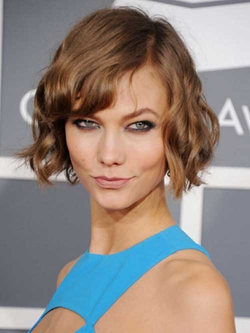 Textured Short Bob with curly Side Bangs