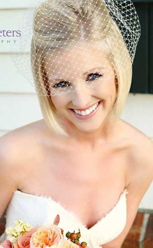 Wedding Bob Short Hair Veil Idea