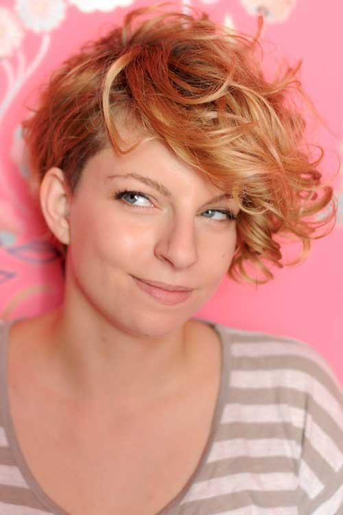 Asymmetrical Short Curly Bob Haircuts
