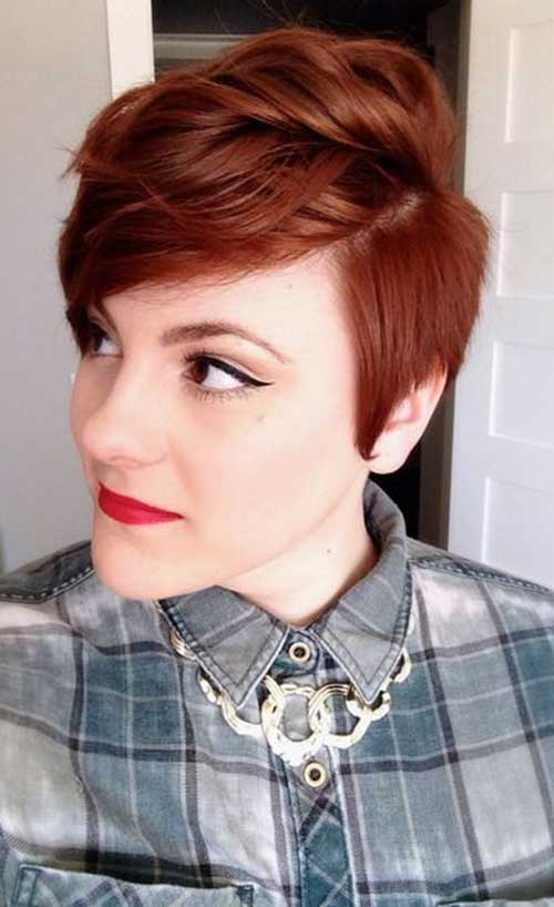 Auburn Colored Pixie Cut