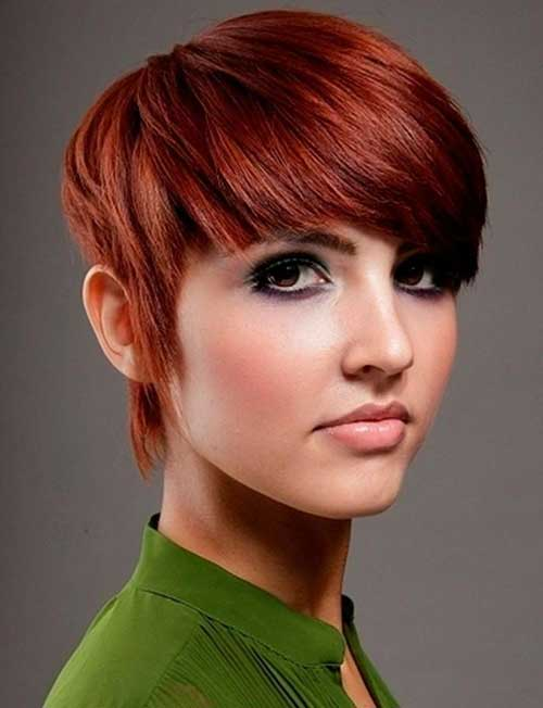 Auburn Pixie Thick Hair Cut