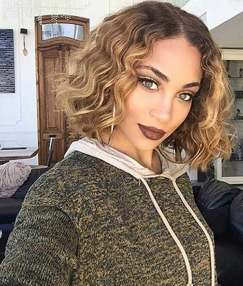 Blonde Curly Bob Hairstyles for Black Women