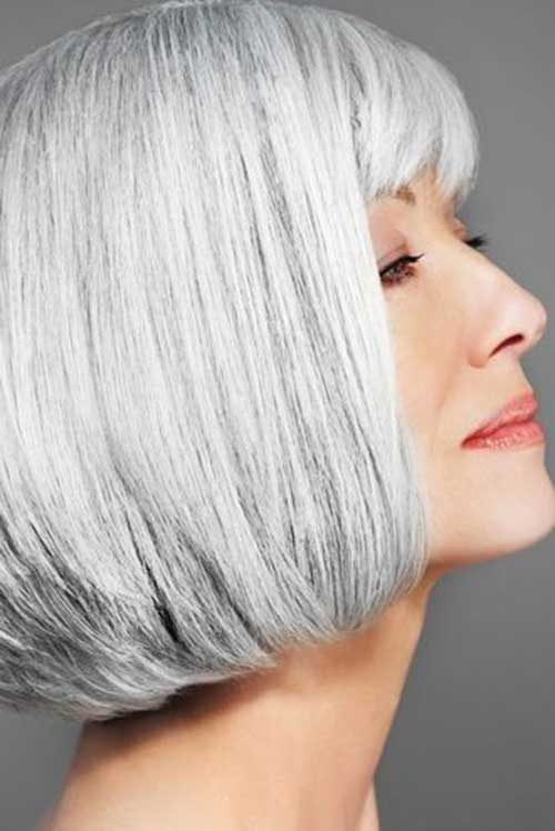 Bob Grey Hair Color for Older Ladies