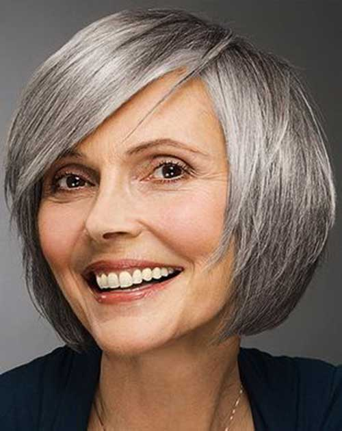 Grey Hair Bob for Older Women