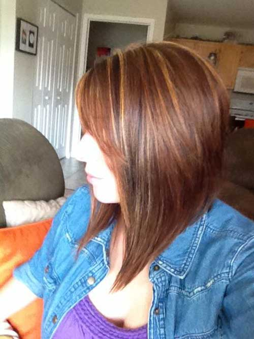 Brown Hair Long Inverted Bob Hairstyles