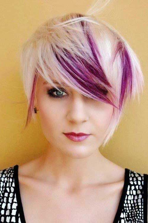 Best Funky Short Hair with Purple Lights