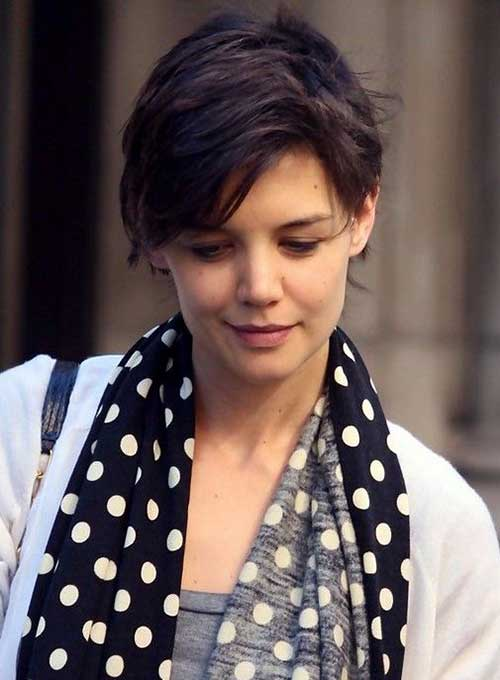 Katie Holmes Long Pixie Cut