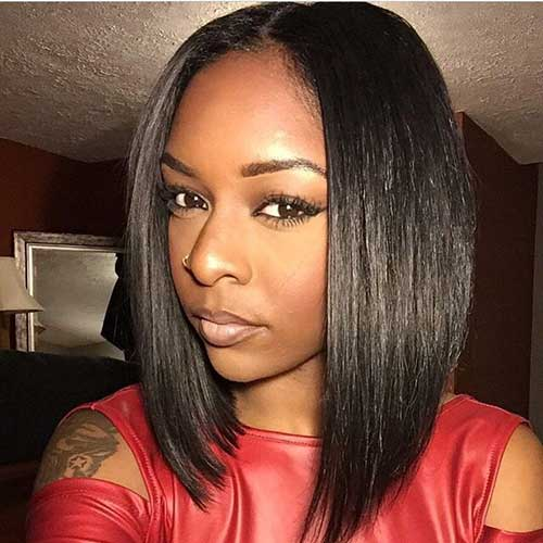 New Straight Dark Bob Hairstyles Black Women