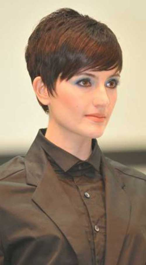 Chic Pixie Haircut Long Bangs for Oval Face