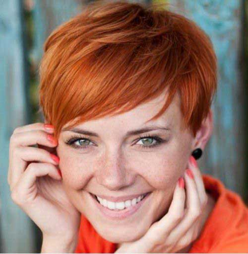 Red Hairstyles for Short Straight Hair Cut
