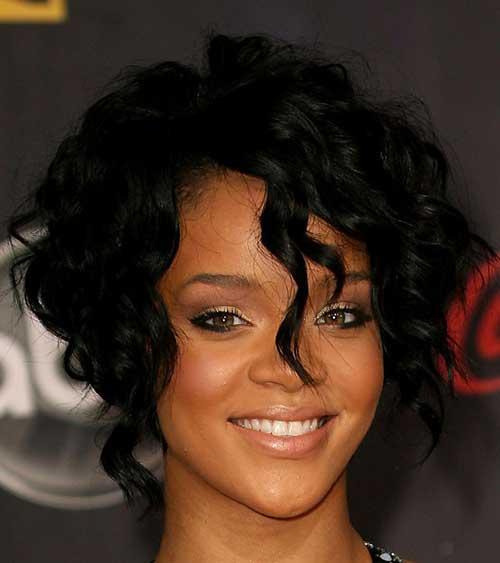 Rihanna Curly Bob Dark Hairstyles