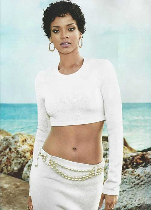 Rihanna Curly Short Hair Cut Ideas