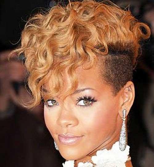 Rihanna Curly Short Mohawk Haircuts