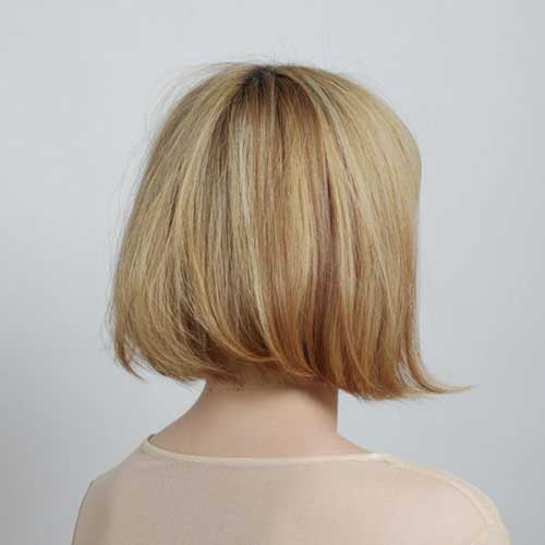 Short Blonde Line Bob Back View