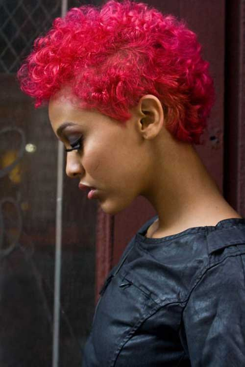 Short Curly Afro Red Hairstyles