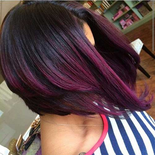 Short Purple Bob Hairstyles Black Women