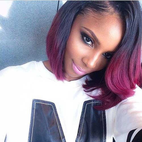 Short Red Ombre Bob Hairstyles Black Women