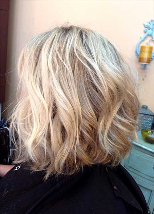 Wavy Long Inverted Blonde Bob Haircuts