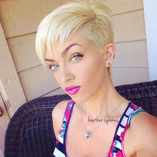Blonde Colored Medium Pixie Haircuts