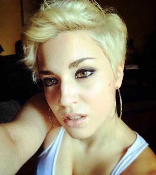 Blonde Hair Wavy Pixie Cut
