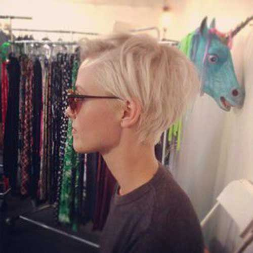 Blonde Pixie Hair Side View