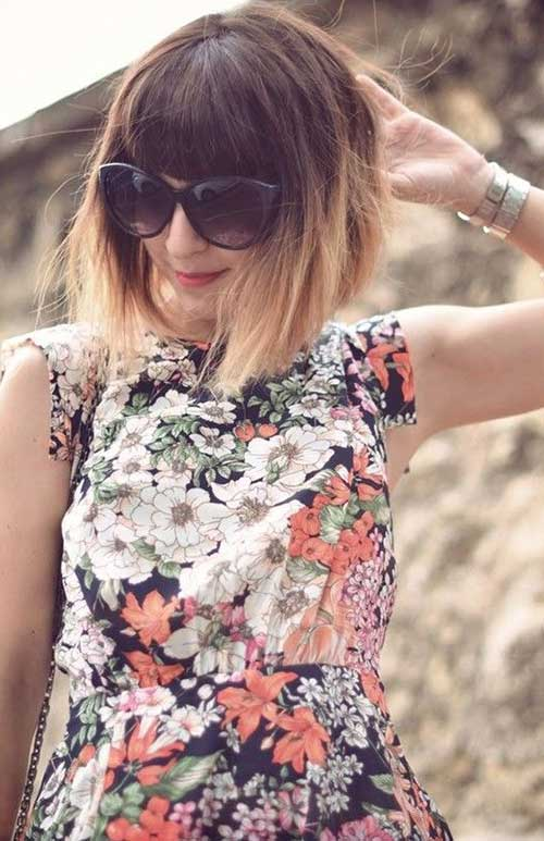 Short Ombre Bobs with Bangs