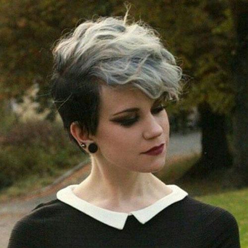 14 grey long pixie cut with long bangs
