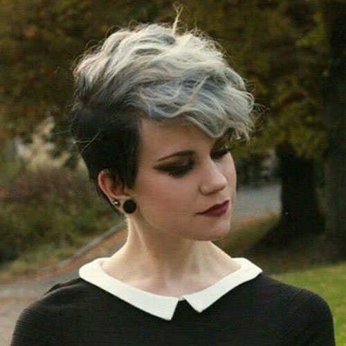 Grey Long Pixie Cuts with Bangs