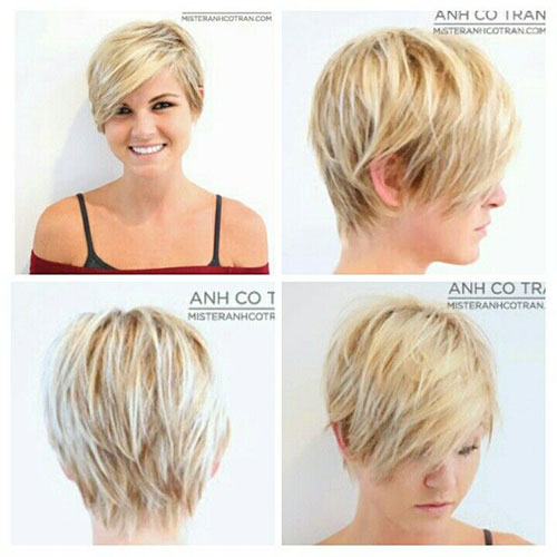 Highlighted Pixie Cuts with Long Bangs