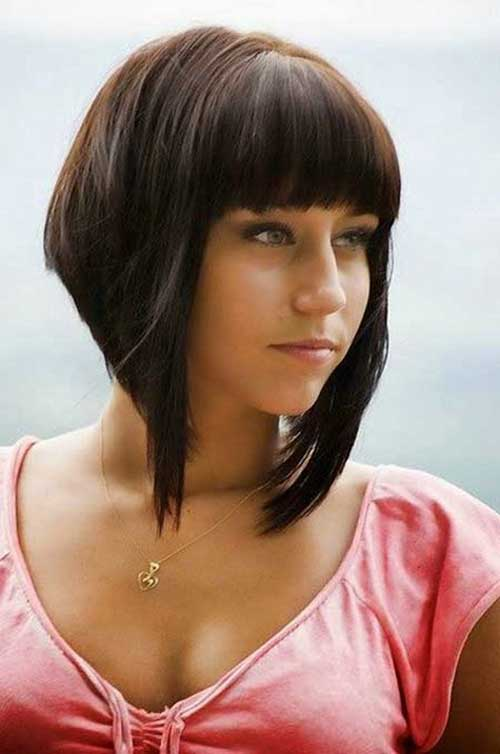 Inverted Bob Cut Hairstyle with Bangs