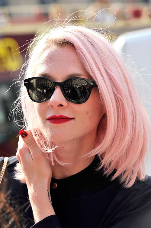 Pink Blonde Short Hair Color Trends 2016