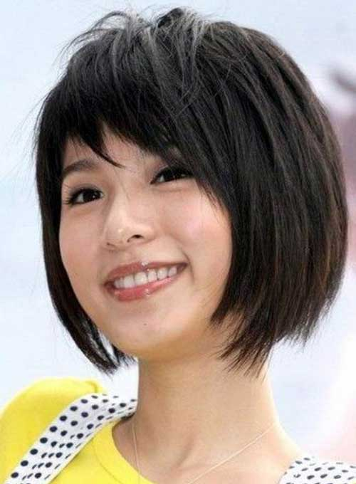 Asian Short Hairstyle for Round Faces