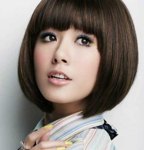Chinese Blunt Bob Hairstyle with Bangs