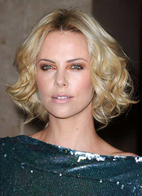 Blonde Curly Bob Charlize Theron