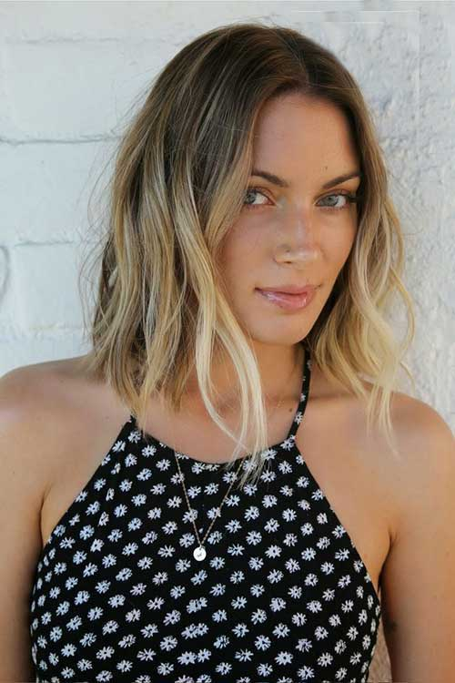 Long Bob Highlighted Ombre Blond