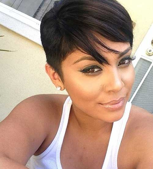 Unique Pixie Cut on Black Hair