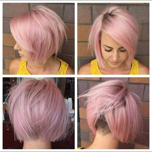 Pink Short Hairstyles Women