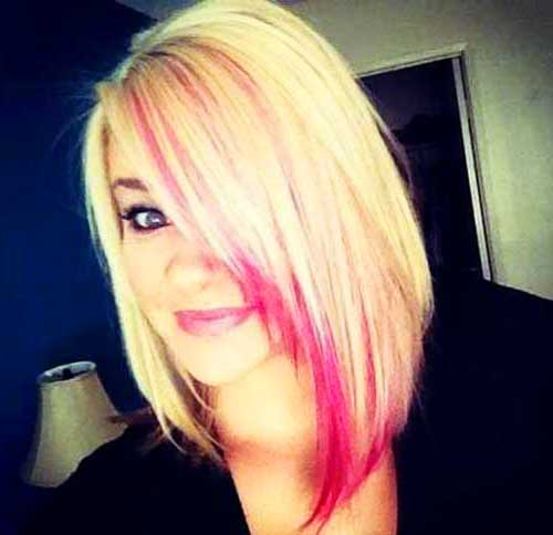 Short Blonde Hair Pink Highligths Colors