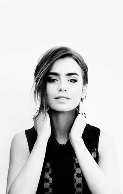 Lily Collins Short Angeled Bob Haircuts