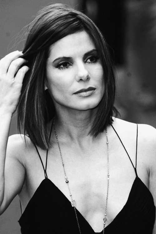 Sandra Bullock Medium Straight Bob Haircuts