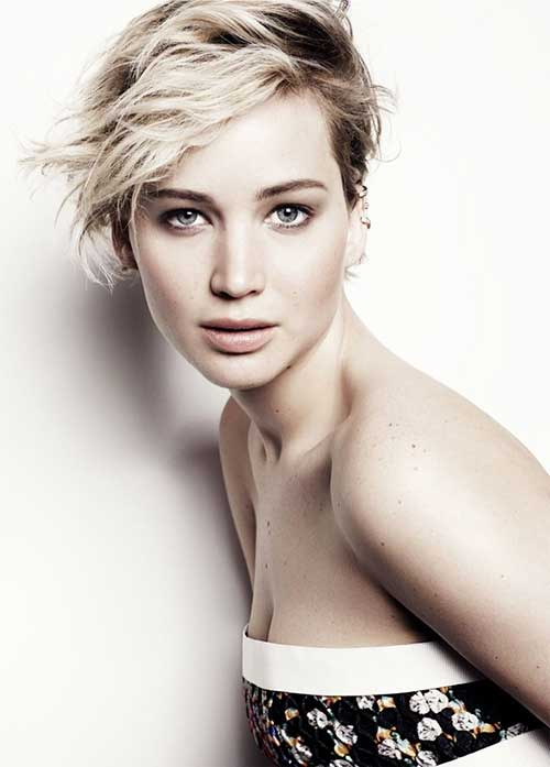 Jennifer Lawrence Short Pixie Wavy Hairstyles