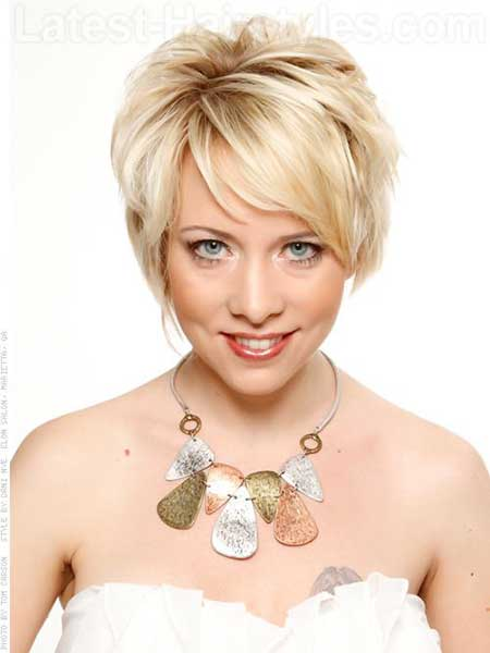 Beauty Blonde One Sided Layered Bob Style