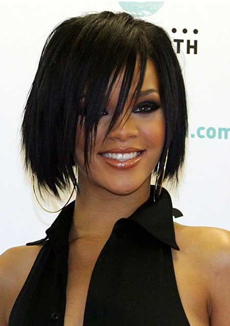 Dark Straight Celebrity Layered Bob