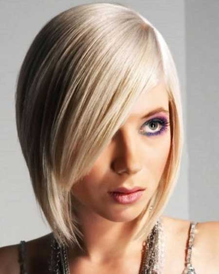 Flat Straight Short Bob Hairstyles with Side Bangs