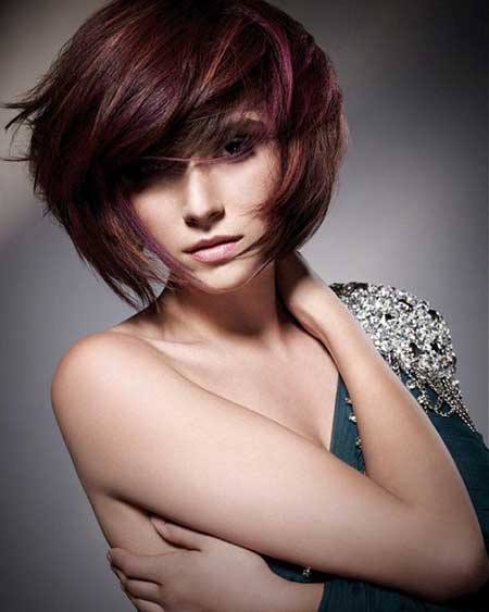 Short Thick Bangs Red Layered Bob Hairstyles