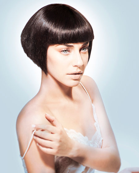 Short Extremely Straight Layered Bob Hairstyle