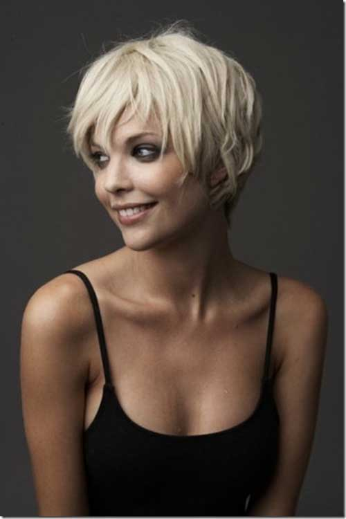 Short Blonde Hairstyles with Side Swept Bangs